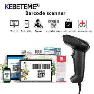 USB Laser Bar Code Scanner USB Wired Portable High Sensitive Barcode Handheld Scanner 1D Barcode Scan Black For System