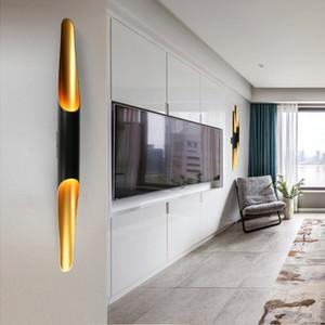 Delightfull 콜트 현대 벽 조명 램프 보루 알루미늄 파이프 날개 2 등 검은 황금 벽 램프 빛 아래로 LED에
