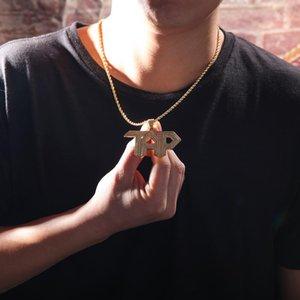 Europa e América Selling Micro Pave Cubic Hip Zircon TAP Cartas Colares Moda Hop Bling Arrefecer Rapper Mens Jewelry