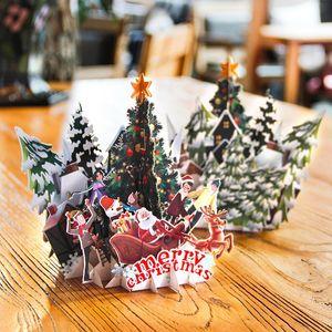 Joyeux Noël de la 3D Carte de voeux de vacances Folding Cartes d'invitation avec carte postale Enveloppe de Noël Carte-cadeau