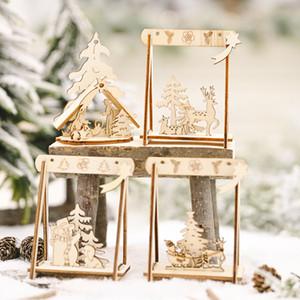 Noel Dekorasyon Festivali Malzemeleri Ahşap DIY Salıncak Süsler Noel Süslemeleri Yaratıcı Yaşlı Adam Küçük Ağaç Süslemeleri Toptan