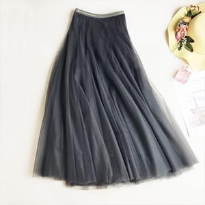 Ball Gown 2020 New Spring Elastic Waist Long Slim Mesh Skirt High Waist Solid Pleated Tutu Skirts For Women Saias Faldas