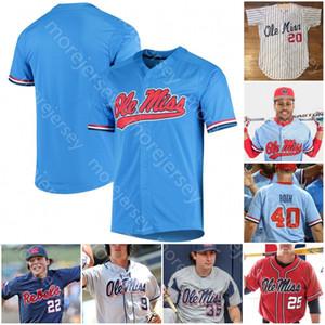 Ole Miss personalizada Jersey de béisbol universitario NCAA Tyler Keenan Servideo Anthony Elko Chatagnier Lynn Rolison Zack Cozart Dunhurst panadero Cioffi