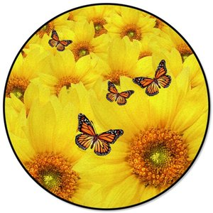 Yellow Sunflower Butterfly Plant Flowers Printed Round Carpet for Living Room Kids Bedroom Table Sofa Carpet Area Rug Mats