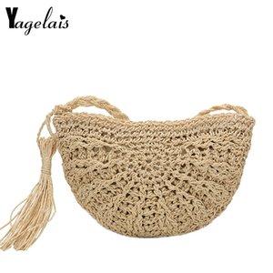 2020 New High Quality Half Round Straw Bags for Women Summer Beach Rattan Bag Handmade Woven Half Moon Crossbody Handbags