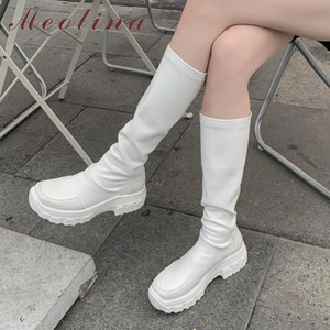 Meotina couro real Plataforma do salto alto estiramento Botas Mulheres alta joelho sapatos botas Toe Rodada Bloco Salto Longo Outono Inverno