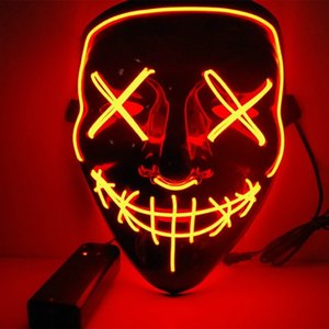 Christmas Purge Mask Light Up Led Halloween Face Mask for Adults Party Masquerade Horror Cosplay Festival