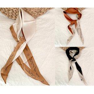 Anna Frauen Ss Same Silk Französisch Rhombus Literarische Arbeiten Sie einfache Briefe Liebe Kontrast-Farben-Graffiti-Schal-Kopftuch