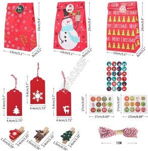 Papier kraft de Noël Cadeaux Sacs Clamp + autocollant + chaîne + étiquette de coup + Sac de rangement Costume Designer Imprimé Bonhomme de neige de mode Sac pochette Buggy D91708