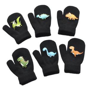 1-5Y Children Gloves Winter Thicken Lovely Boys Girls Warm Fleece knitting Glove Cute Cartoon Dinosaur Pattern Bobby Kids Gloves Sale F91101
