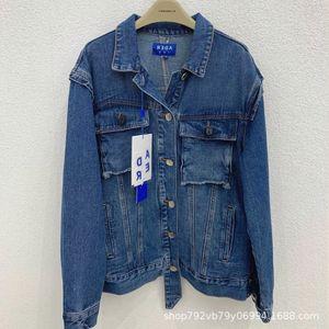 Korean ADER ERROR fashionable dark blue damaged pocket structuralism denim men's and women's jacket