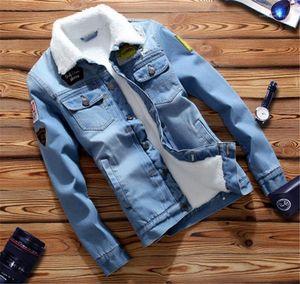 Pecho para hombres Moda delgado Individual Jean chaquetas casuales hombres Ropa para hombre del diseñador Jean chaquetas charretera Penelled