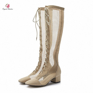 Original Intention Stylish Women Air Mesh Knee High Boots Square Toe Square Heels Boots Popular Apricot Shoes Woman Concise Sexy 84VE#