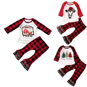Christmas Girls Outfits Toddler Girl Plaid Tops Flared Pants 2PCS Sets Long Sleeve Children Clothes Set Xmas Kids Clothing 3 Designs DW5914