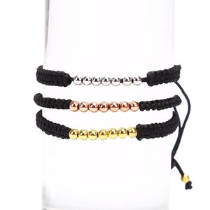 Joyería 1PCS nueva manera de los granos de los hombres pulsera Negro trenzado Tejido a mano encanto brazaletes