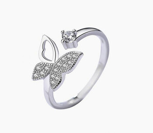 NEW Cubic Zircon Crystal Butterfly Rings For Women Platinum Plated Wedding Rings Jewelry Open Adjustable Finger Ring Epacket free
