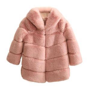 New Girls Inverno Quente elegante Grosso Brasão Baby Girl Faux Fur Casacos casacos Parka Casacos crianças roupas Y200901
