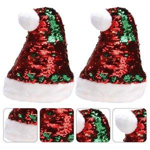 홈 파티를위한 2PCS 크리스마스 모자 장식 조각 크리스마스 모자 빛나는 크리스마스 모자