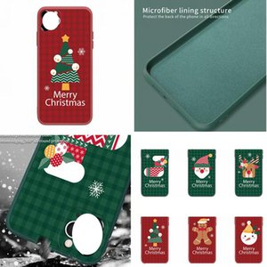 Merry Christmas Tree Liquid Silicone Case For Iphone 12 11 Pro Max X XS XR SE2 6 6S 7 8 PLUS Matte Fine hole Santa Claus Phone Cover Luxury