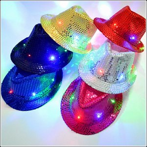 Unisex Multicolor LED Flashing Light Fedoras Fashion Sequined Hats Dance Party Nightclub Hip Hop Caps Brilliant Glitter Hat Chic