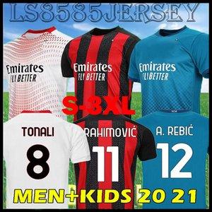 S-3XL 11 # Ibrahimovic 20 21 Milan Futebol Jerseys 2020 2021 Tonali Paqueta Bennacer Camisa de Futebol Rebic Camiseta de Futbol Romagnoli Uniforme
