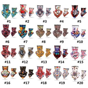 New 40 Styles Printing Riding Motorcycle Face Towel Bandana Dust Face Mask hanging Ear Triangle Scarf Magic Headband Party Mask GWB1917