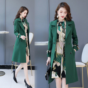 Spring Autumn Trench Coat Slim Trench Coat Women Dress Women Windbreakers Plus Size Two Pieces Women Sets Trench Coats Dress Set T200909