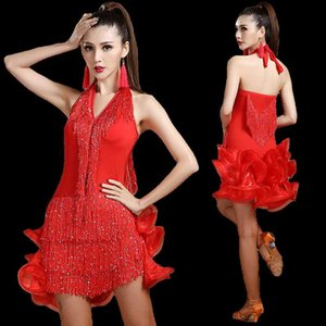 Latin dancer's performance and competition costume women's ballroom tassel sexual dresses sexy v-neck stage dance suit