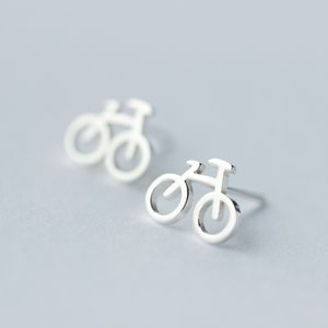 Boucles d'oreilles à vélo de vélo Sterling Sterling Sterling Sterling Sterling pour Femmes Filles Mode Bijoux d'oreille de Charme (SE410)