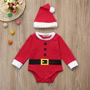 Red Hot Fashion Christmas Santa Baby Girls Boys Outfits Clothes 2Pcs Rompers+Hat Set 2019 New Snow Red Set drop shipped Y200919