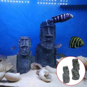 Acquario Fish Tank impianto Isola di Pasqua Volto Statua Decoration
