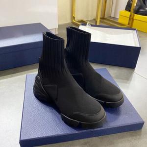 20SS réfléchissant Plate-forme des femmes Parti lettres classique Outsole Augmentation Soirée de 5 cm Knit Sock Bottes Femmes Boot avec la boîte