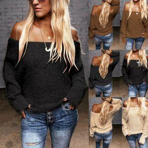 Женские свитера женские с длинным рукавом вне плечо вязаные пуловеры свитер холодная плеча
