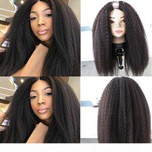 100% Human Hair 100% Unprocessed Brazilian Remy Hair Kinky Straight U Part Wigs For Black Women Open Yaki Straight Wig