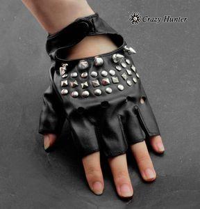 Cool femmes fille de Spike Rivet punk rock Fingerless Gants en cuir noir