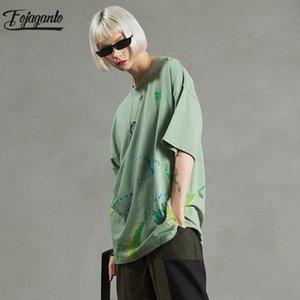 FOJAGANTO лето новых людей моды футболки мужские Марка крашение Модные Дикий с коротким рукавом майка Мужчины хип-хоп футболки Топы