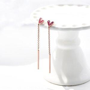 vJ1R3 S925 Sterling Silber Rose Red Love weiblichen Temperament Korean einfache und Allgleiches Ohrringe lange Ohrringe Internet Berühmtheit 8273