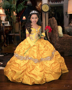 Yellow 2021 Retro Princess Beaded Flower Girl Dresses Lace Taffeta Little Girl Wedding Dresses Vintage Pageant Dresses Gowns