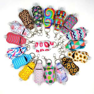 Neoprene Chapstick Holders Leopard Lipstick Cases Cover 50ML Hand Sanitizer Bottle Perfume Bottles Sunflower Keychains OOA9113