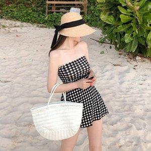 ventre chaud couvrant fan de fées minceur des femmes lPqCG style jupe joint en effet conservateur Plaid maillot de bain maillot de bain coréen