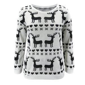 New Christmas Style Woman Sweaters O-Neck Long Sleeve Fawn Heart Print Spring Autumn Casual Loose Sweater Women Pullovers Tops