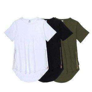 Genişletilmiş Tişörtlü Erkekler Fishtail Çok Eğimli Hem Yan Fermuar Kısa Kollu T shirt Hip Hop Top boy art katlayın