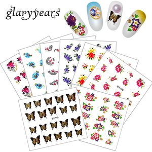 glaryyears 1 Scheda di trasferimento dell'acqua SY Nail Art Sticker Flash Gold Glitter Tattoo Flower Decal per Art Design di carta fai da te Nail Donne