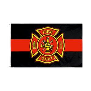 Line Red Flag Fire Dept Livraison gratuite usine directe gros 3x5Fts pompiers Bannière Pour les techniciens ambulanciers Intérieur Extérieur Décoration