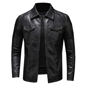 2020 design sense men's leather jacket men's multi-pocket motorcycle fur jacket men's coat lambskin coat winter coat