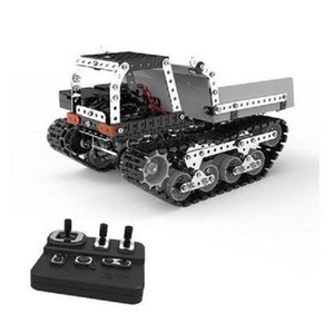 NEW RCtown 934Pcs 2.4G 10CH RC Tracked Dump Truck DIY Stainless Steel Assembled Vehicle Metal RC Car Model Birthdaty Gifts