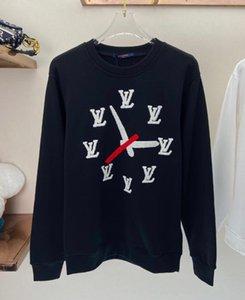20FW Europea Francesa primavera y otoño impresión de última moda Toalla bordada estilo de las letras del reloj suéter blanco de alta calidad salvaje
