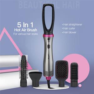 5 en 1 cepillo de aire caliente rizador de pelo profesional pelo alisado de peine secador del soplo del hogar Señora Conjunto labra la herramienta de pelo Waver 31