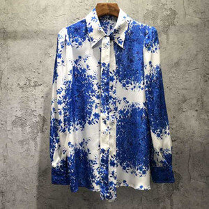 VERDEJULIAY Desiger Art und Weise 100% Seide Bluse Frauen Herbst Langarm-Blau-Blumen-Druck Büro-Damen Bluse