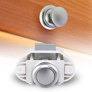20mm 26mm Push Button Latch Keyless Cabinet Lock Catch Cupboard Door Knob Latch Lock, for 14-16mm Thickness Board Panel